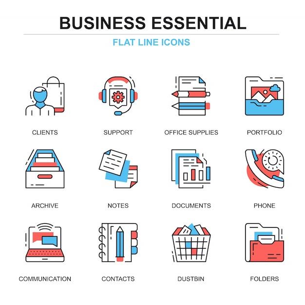 Плоская линия бизнес основные концепции значков Premium векторы