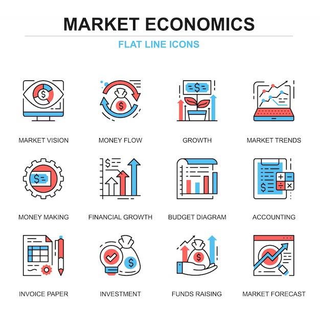 フラットラインのグローバル市場経済のアイコンコンセプトセット Premiumベクター