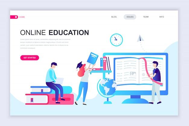 オンライン教育の最新フラットウェブページデザインテンプレート Premiumベクター