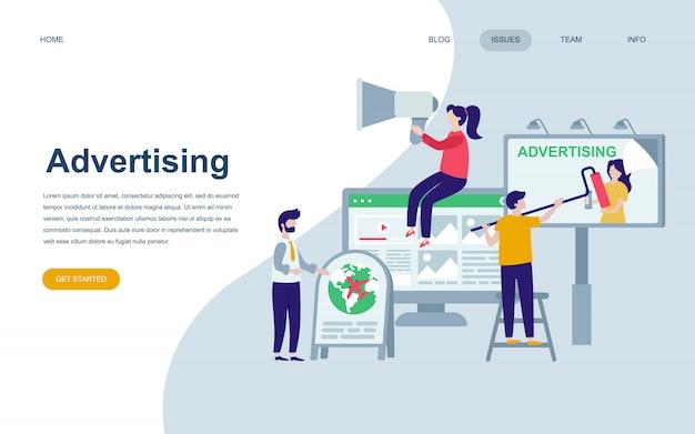 広告のモダンなフラットウェブページデザインテンプレート Premiumベクター