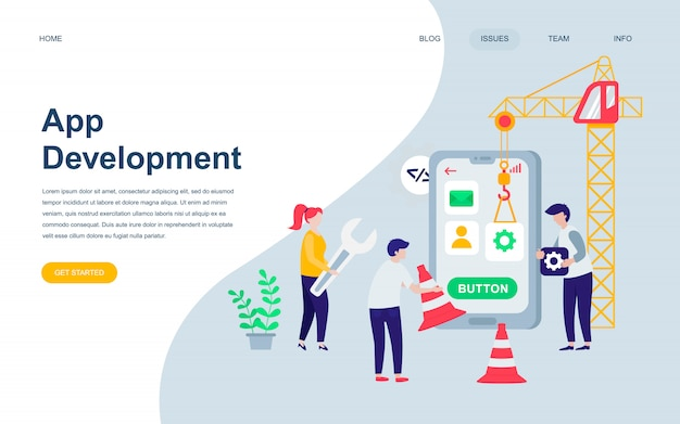 Современный плоский шаблон дизайна веб-страницы разработки приложений Premium векторы