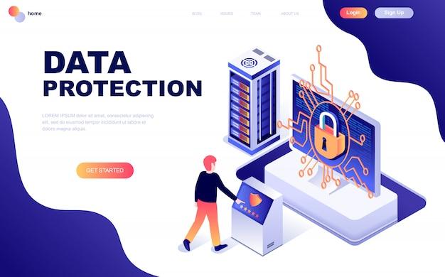 Современный плоский дизайн изометрической концепции защиты данных Premium векторы