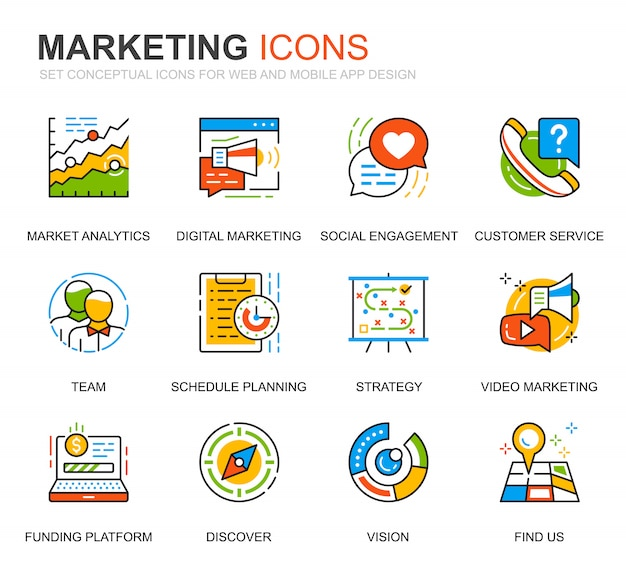 シンプルなセットビジネスとウェブサイトのマーケティングラインのアイコン Premiumベクター