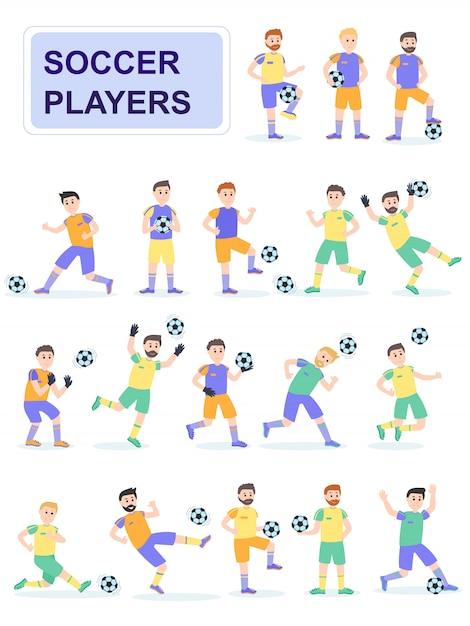 さまざまなポーズでサッカーボール選手のセットです。 Premiumベクター