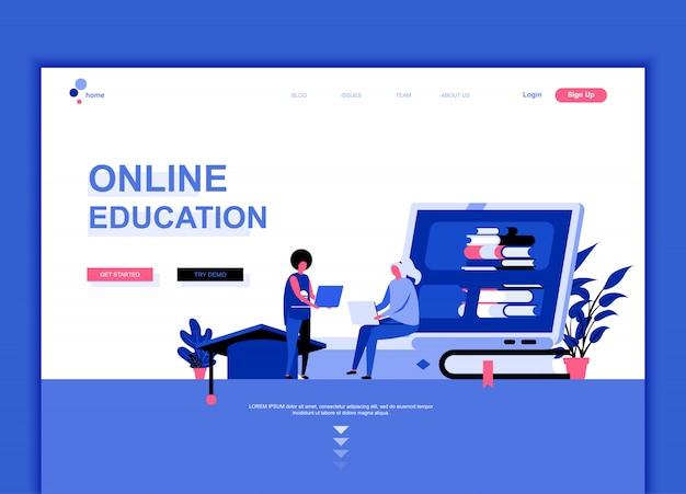 Шаблон плоской целевой страницы онлайн образования Premium векторы