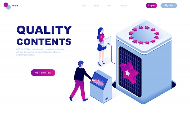 Современный плоский дизайн изометрической концепции качества контента Premium векторы