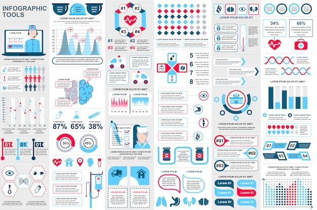 Медицинские инфографики элементы визуализации данных вектор дизайн шаблона Premium векторы
