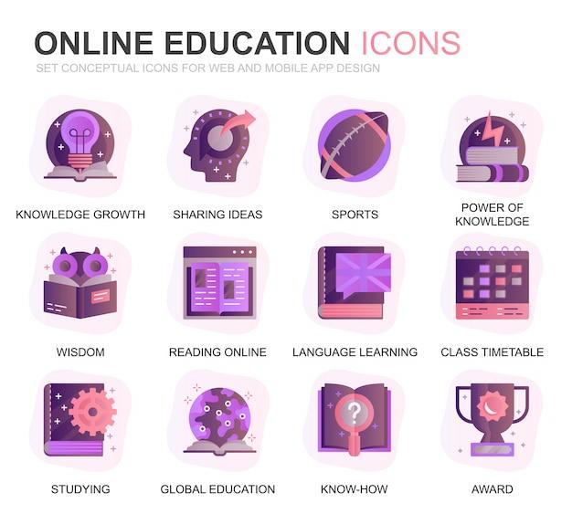 Современный набор образовательных и градиентных знаний плоских иконок Premium векторы