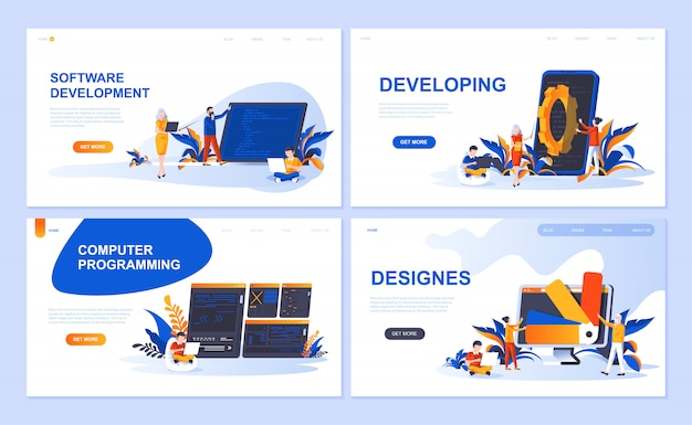 ソフトウェア、開発、デザイナー、プログラミングのランディングページテンプレートのセット Premiumベクター