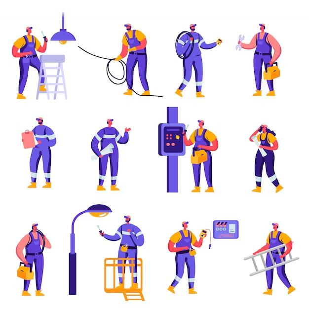 フラット産業とスマートホームメンテナンスサービス労働者の文字のセット Premiumベクター