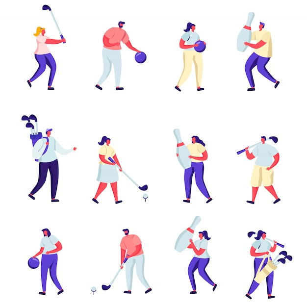ゴルフやボーリングの文字をプレーするフラットの人々のセット Premiumベクター