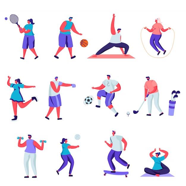 平らな人々のスポーツ活動文字のセット。 Premiumベクター