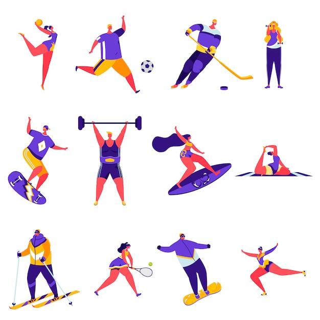 Набор плоских людей спортивных мероприятий персонажей Premium векторы