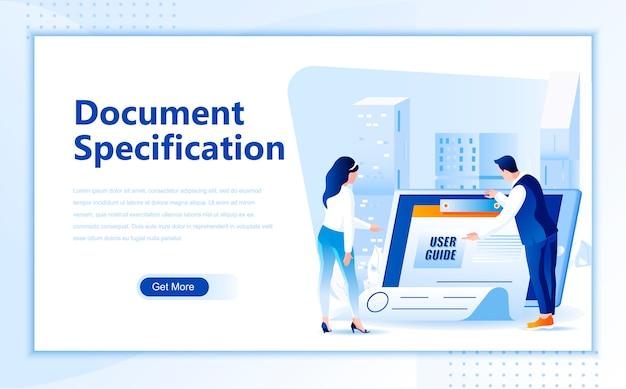 ホームページのドキュメント仕様フラットランディングページテンプレート Premiumベクター