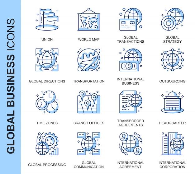 Набор иконок, связанных с тонкой линией глобального бизнеса Premium векторы