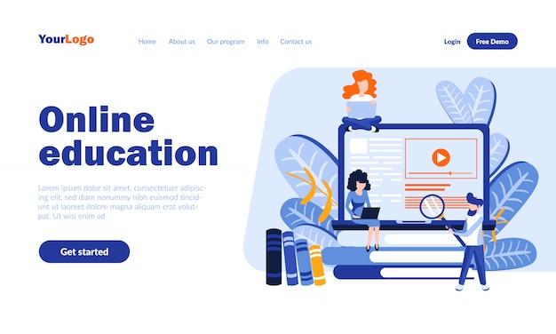 ヘッダー付きオンライン教育ベクトルランディングページ Premiumベクター