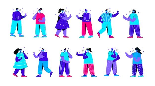 くしゃみや咳をする人々のセット医療マスクを身に着けている平らな青い人キャラクター Premiumベクター