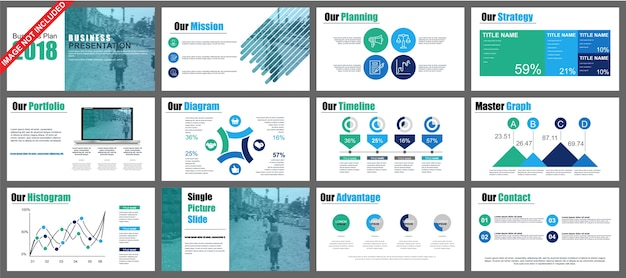 ビジネスパワーポイントプレゼンテーションは、インフォグラフィック要素からテンプレートをスライドさせます。 Premiumベクター