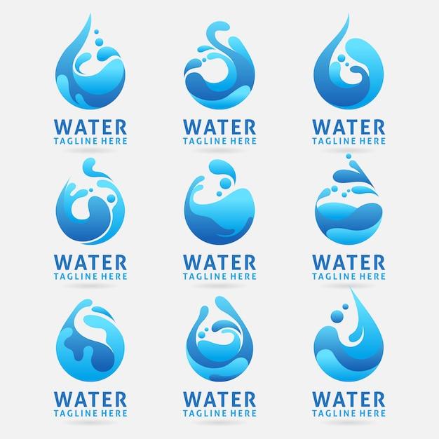 スプラッシュ効果を持つ水のロゴデザインのコレクション Premiumベクター