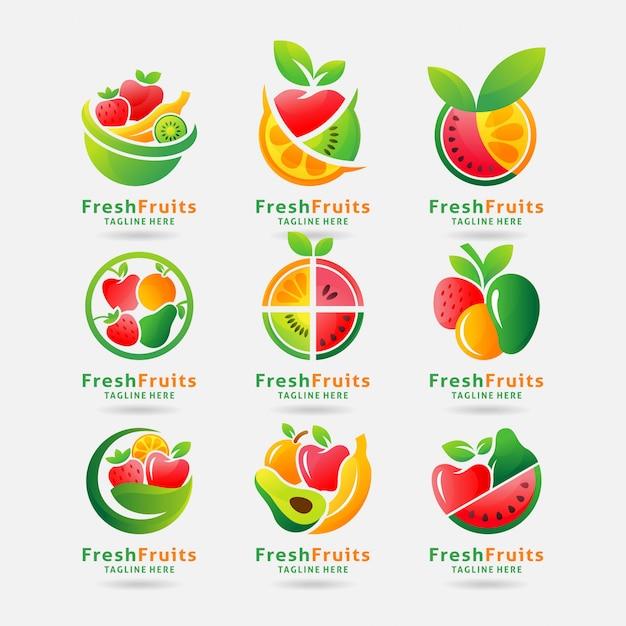 Коллекция свежих фруктов с логотипом Premium векторы