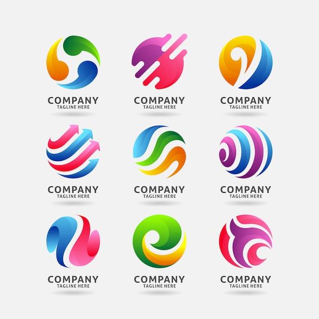 抽象的なサークルのロゴデザインのコレクション Premiumベクター