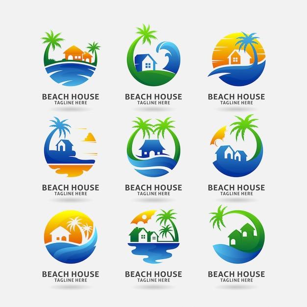 Коллекция дизайна логотипа пляжного дома Premium векторы