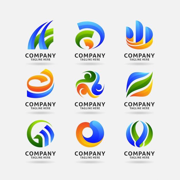 抽象的なビジネスロゴのコレクション Premiumベクター
