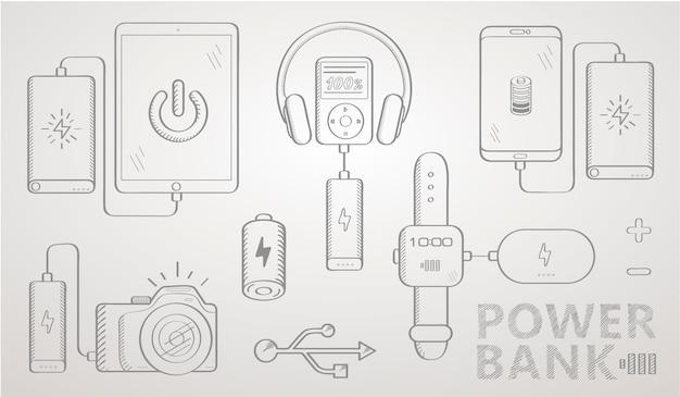 パワーバンクスケッチセット Premiumベクター