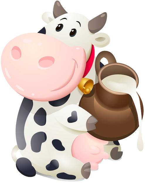 牛乳瓶と漫画ぽっちゃり牛 Premiumベクター