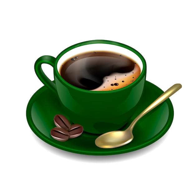 Темно-зеленая чашка кофе Premium векторы