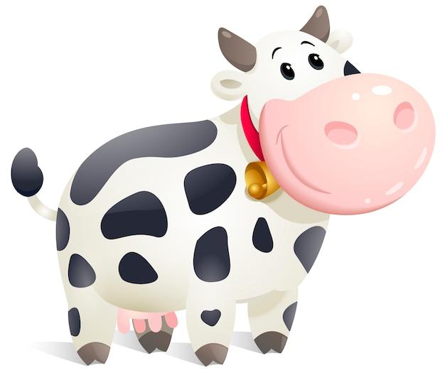 かわいい漫画ぽっちゃり牛。 Premiumベクター