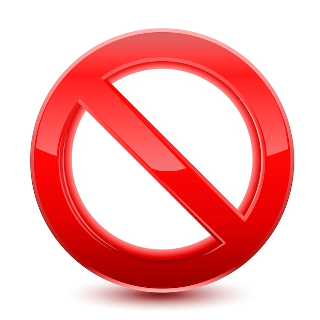 Запрещенный красный знак Premium векторы