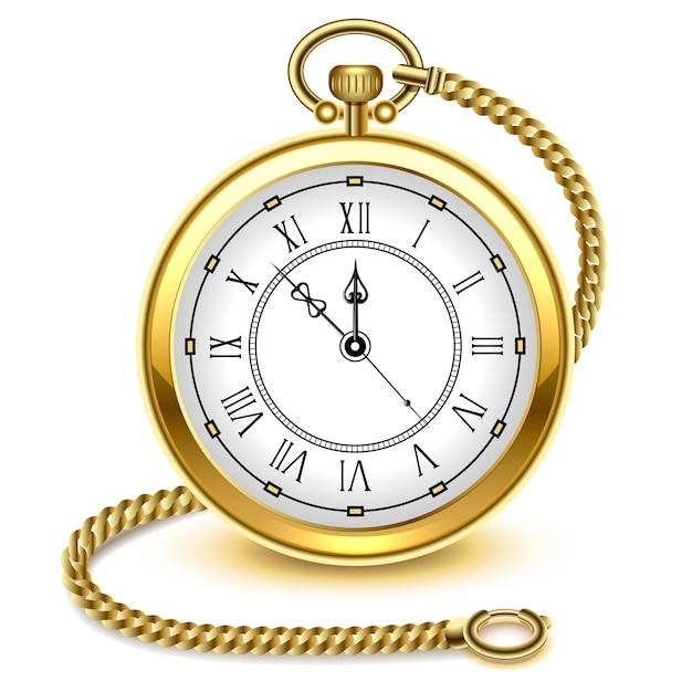 Старинные золотые карманные часы и цепочка Premium векторы