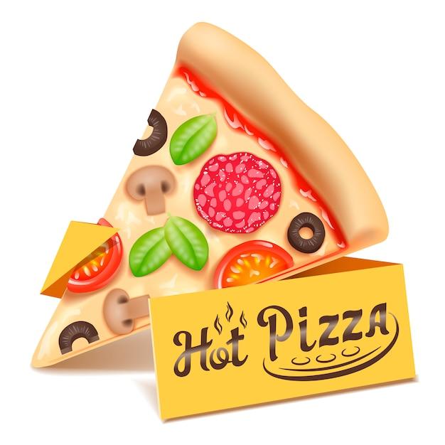 ピザの三角形のスライスのアイコンが白い背景で隔離。 Premiumベクター