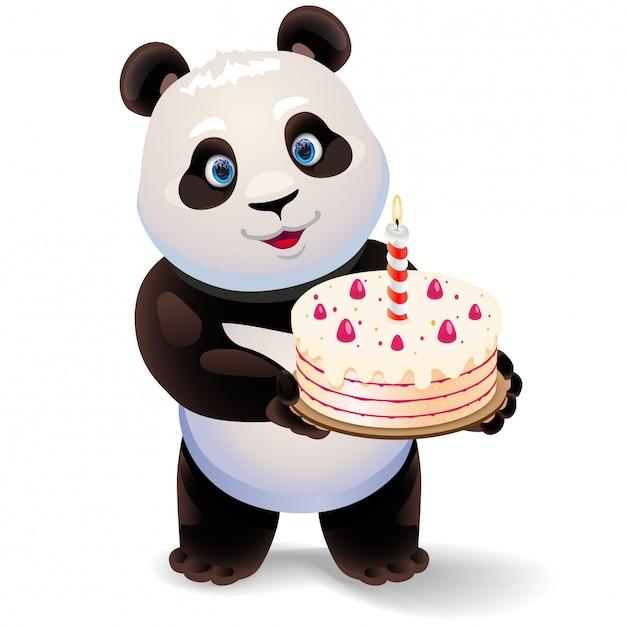 Панда держа иллюстрацию именниного пирога. Premium векторы