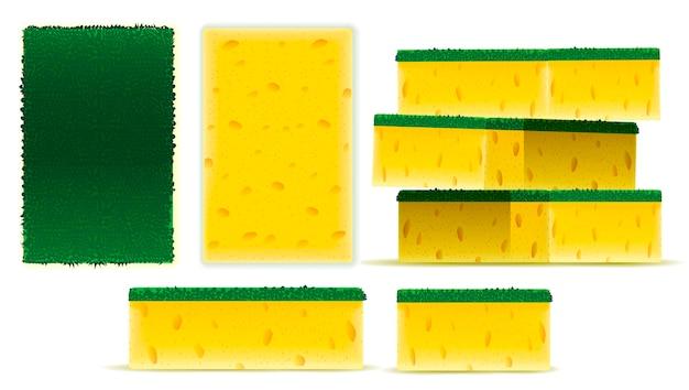 Скраб желтая губка набор дизайн Premium векторы