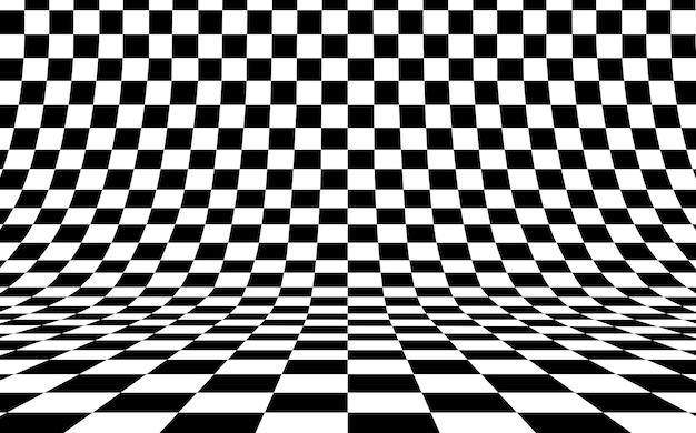 Шахматная доска изогнутый фон пуст в перспективе Premium векторы