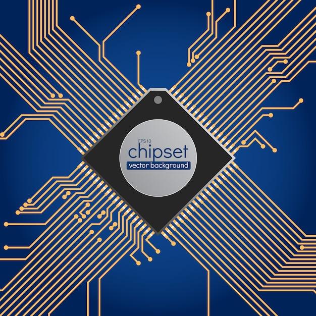 チップセット回路の背景、青と金色 Premiumベクター