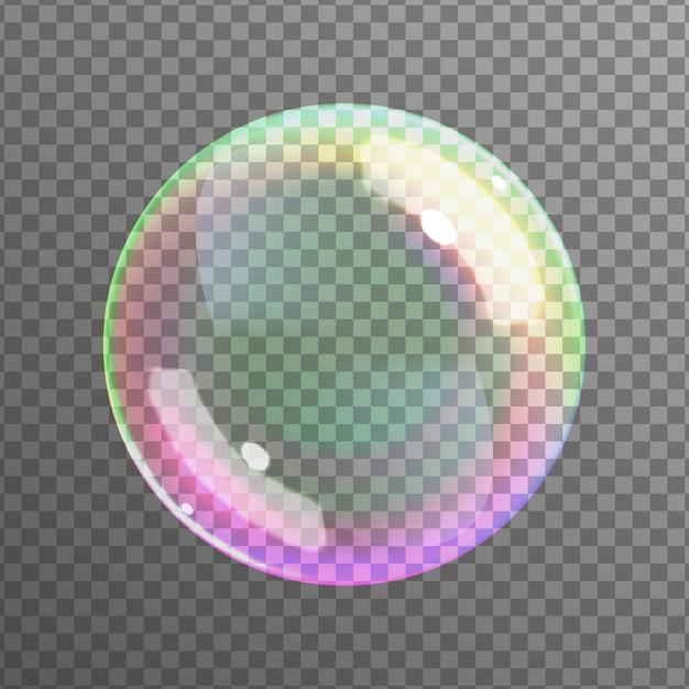 Мыльный пузырь на черном фоне. Premium векторы