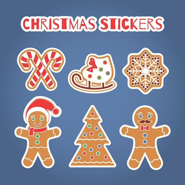 クリスマスジンジャーブレッドクッキーステッカーセット Premiumベクター
