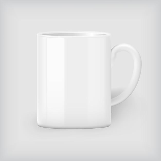ホワイトコーヒーのマグカップ、コーポレートアイデンティティ Premiumベクター