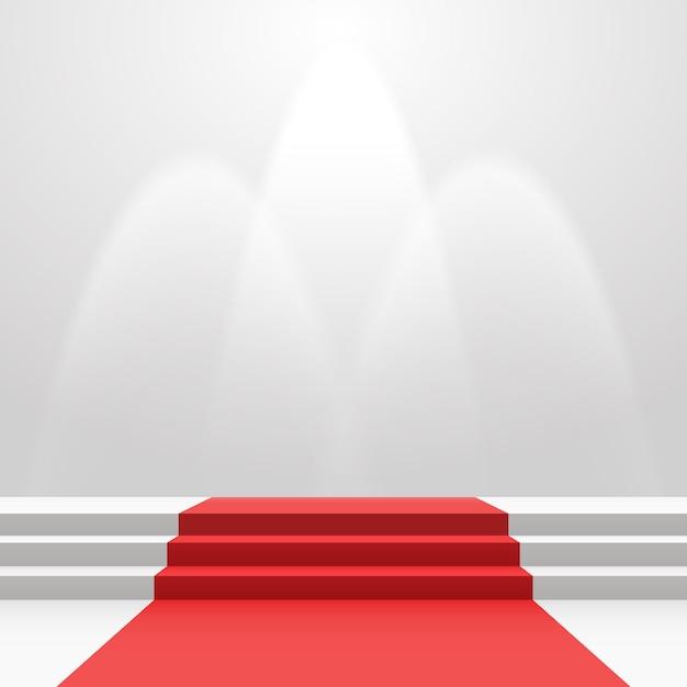 Красная ковровая дорожка на лестнице Premium векторы