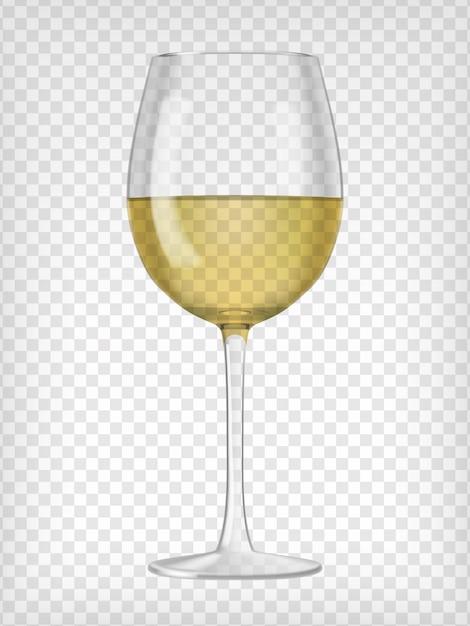 白ワインで満たされた現実的な透明なガラス Premiumベクター