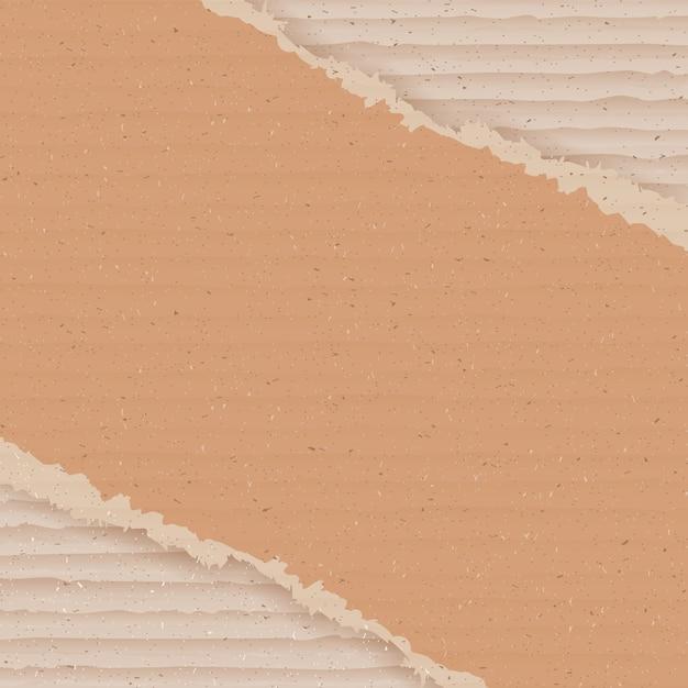 Гофрированный картон фона. рваные картонные обои Premium векторы