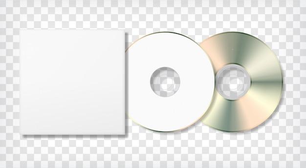 空のディスクとケースのテンプレート。写実的な空白のモックアップ。 Premiumベクター