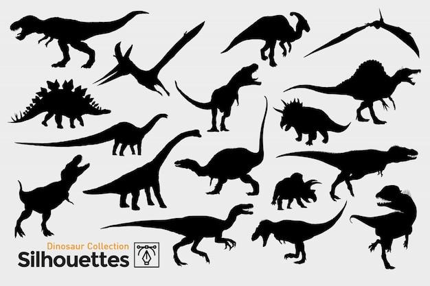 先史時代の恐竜のシルエットのコレクション。 Premiumベクター