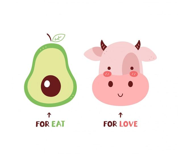Авокадо для еды, корова для любви. изолированные на белом. дизайн карточки иллюстрации персонажа из мультфильма вектора, простой плоский стиль. ешьте фрукты, люблю животных концепции. веганский, вегетарианская открытка, дизайн плаката Premium векторы