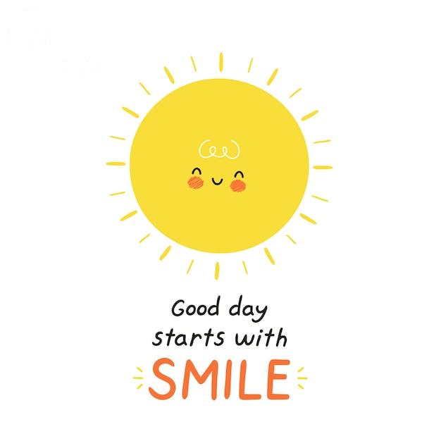 かわいい幸せな太陽のキャラクター。白で隔離。ベクトル漫画キャラクターイラストデザイン、シンプルなフラットスタイル。良い日は笑顔のカードから始まります Premiumベクター