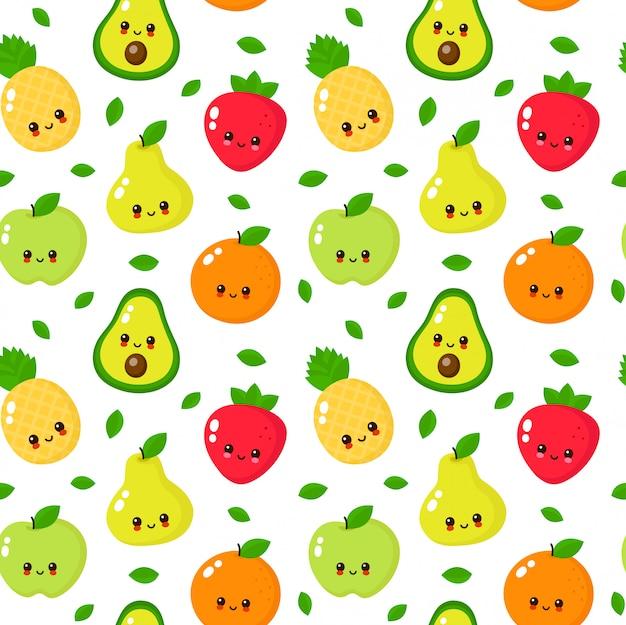 幸せなかわいい笑顔果物シームレスパターン Premiumベクター