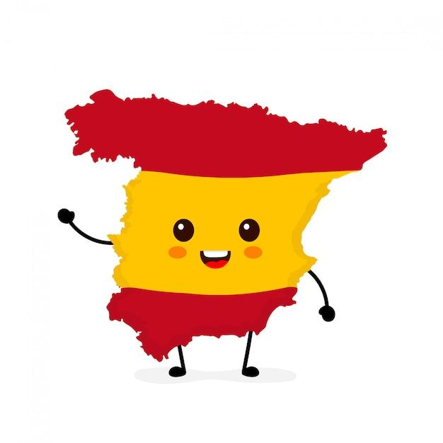 かわいい面白い笑顔幸せスペイン地図とフラグ文字。 Premiumベクター